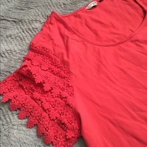 Deep coral Lace Sleeve Top